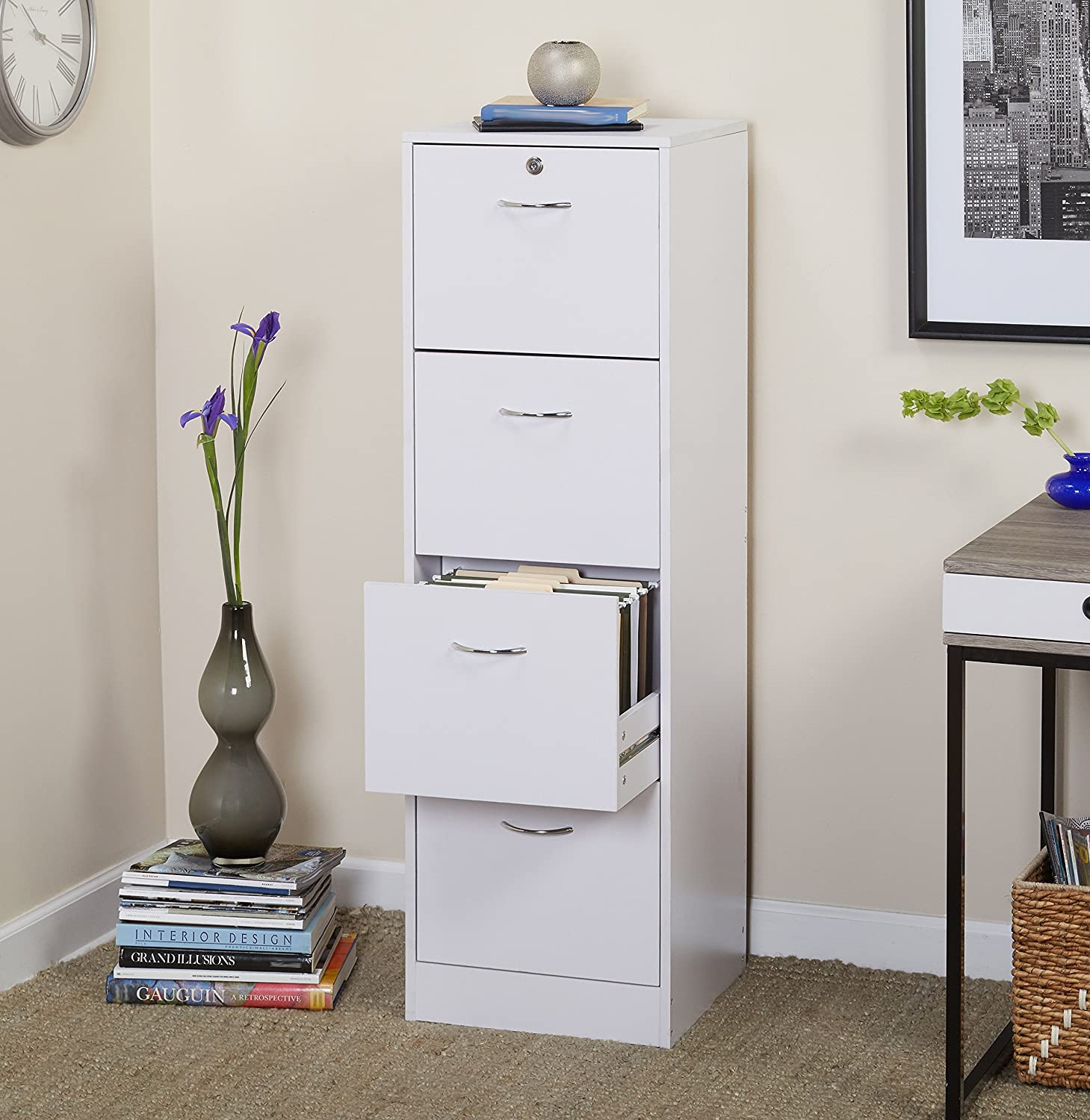 Four Drawer Vertical Wood Lockable File Cabinet, Safeguards Documents and Keeps Them Organized, Prevents Your Papers from Fading, Made of Durable Particleboard and Metal, White + Expert Guide eCom Rocket