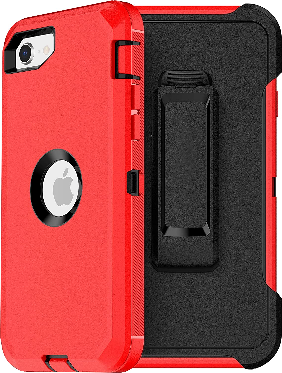 MXX iPhone SE 2020 Heavy Duty Protective Case with Screen Protector [3 Layers] Rugged Rubber Shockproof Protection Cover & Rotating 360 Degree Belt Clip for Apple iPhone SE 2020 (Red/Black)