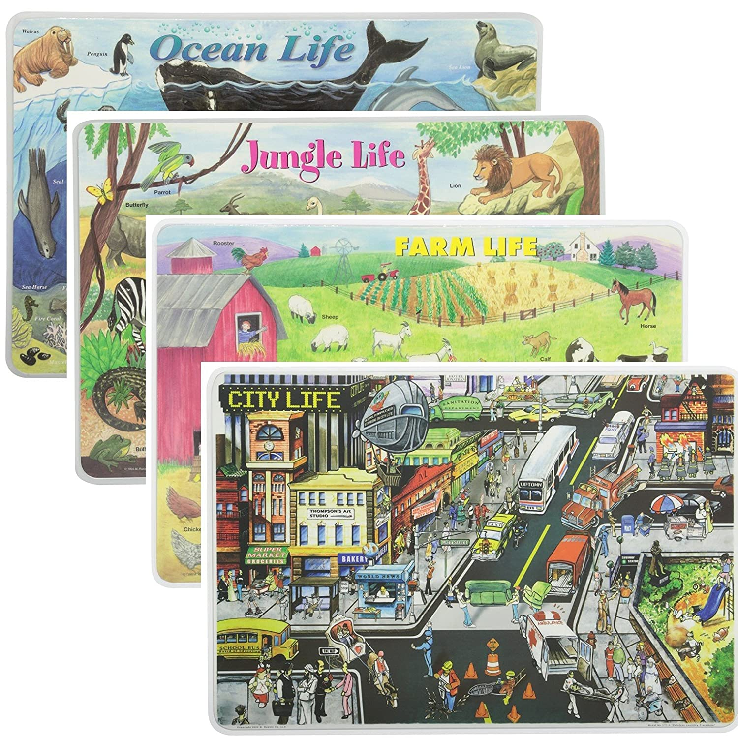 (Jungle Life, Ocean Life, Farm Life and City Life) - Painless Learning Educational Placemats Sets Jungle Life, Ocean Life, Farm Life and City Life Placemat Non Slip Washable  Jungle Life, Ocean Life, Farm Life and City Life B0754Q5ZYB