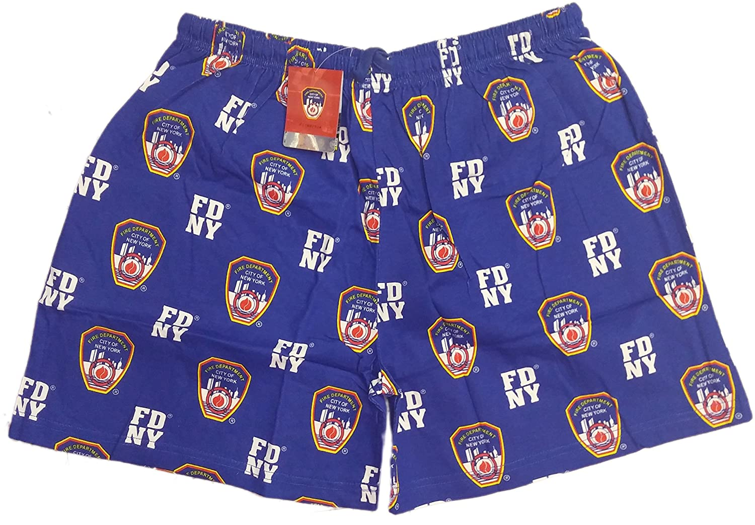 FDNY Boxer Shorts Blue Mens Sleepwear NYC Fire Dept Gift