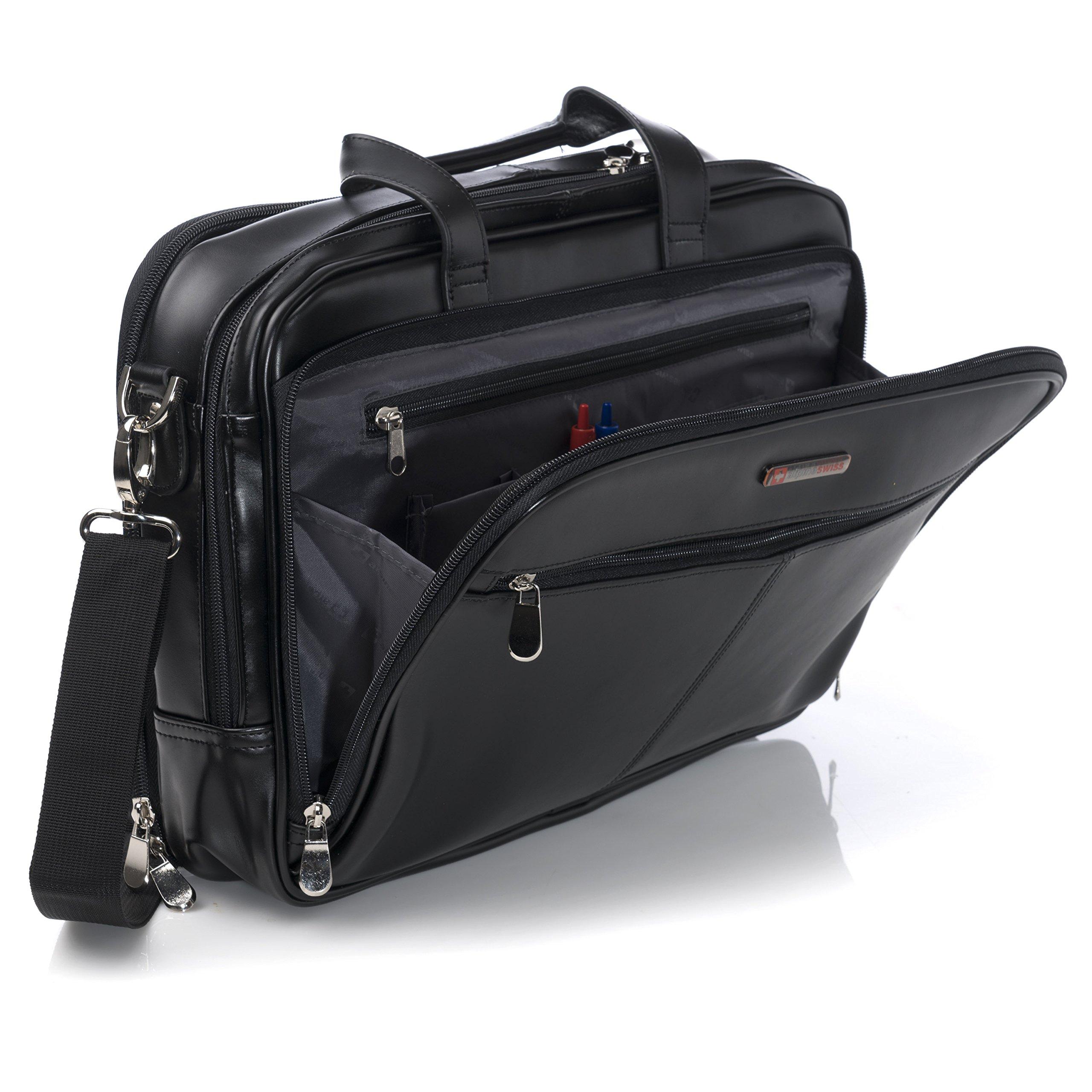 Alpine Swiss Monroe Leather Briefcase Top-Zip Laptop Messenger Bag Black by alpine swiss (Image #3)