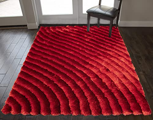 Abstract Geometric Mountain Path Designer Decorative 3D Shag Shaggy Woven Braided Hand Knotted Feisty Accent Fluffy Contemporary 8 x10 Feet Dark Red Light Red Colors Indoor Bedroom Living Room