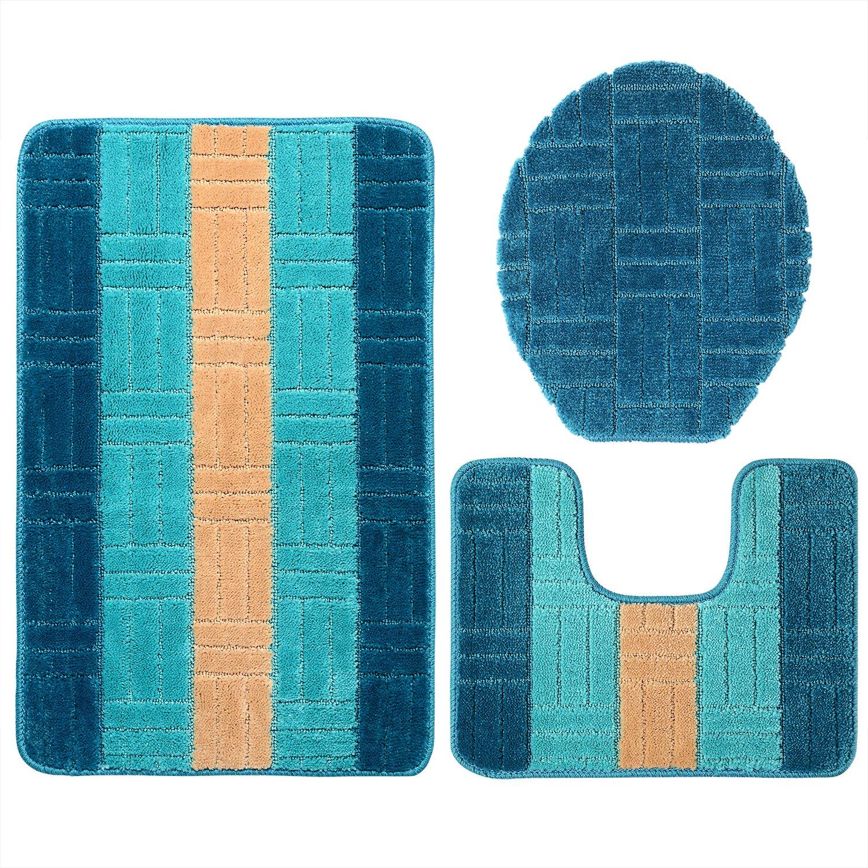 GRAND ERA 3 Piece Bath Mat Set Polypropylene Fiber Mat 20'' x 31'' with Contour Rug and Lid Cover, Bright Blue