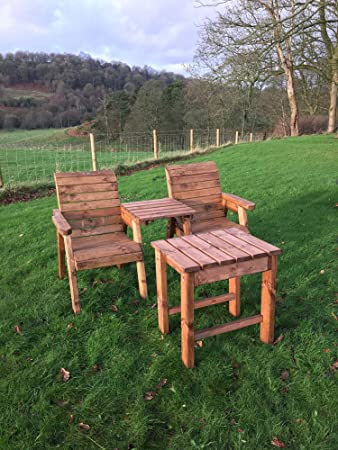 211e1f210f99c Charles Taylor Trading Hand Made 2 Seater Chunky Wood Garden Furniture  Deluxe Companion set with table: Amazon.co.uk: Garden & Outdoors