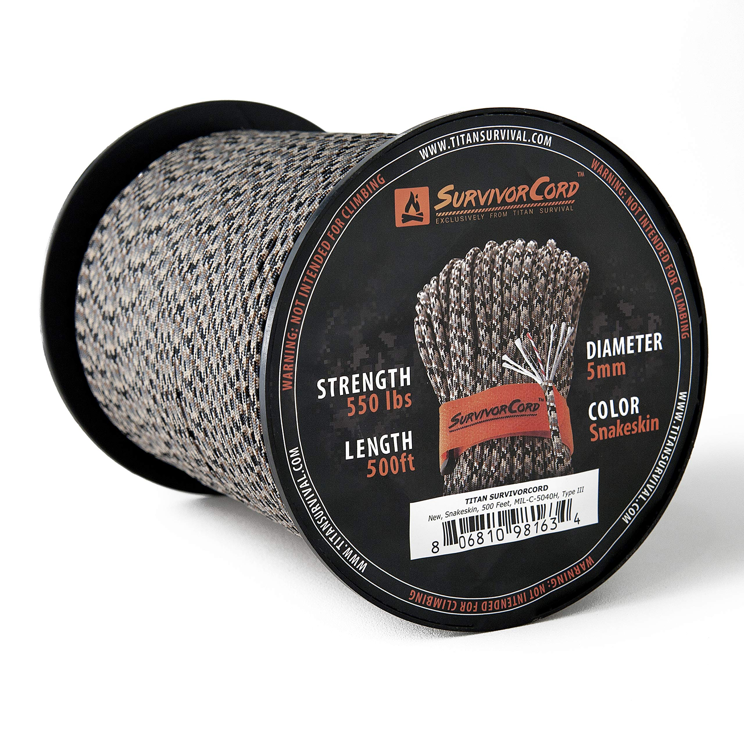 Titan SurvivorCord Spool | Snakeskin, 500 FEET - Patented MIL-SPEC 550 Paracord (3/16'' Diameter) with Integrated Fishing Line, Fire-Starter, and Utility Wire. Free Paracord Project eBooks Included.