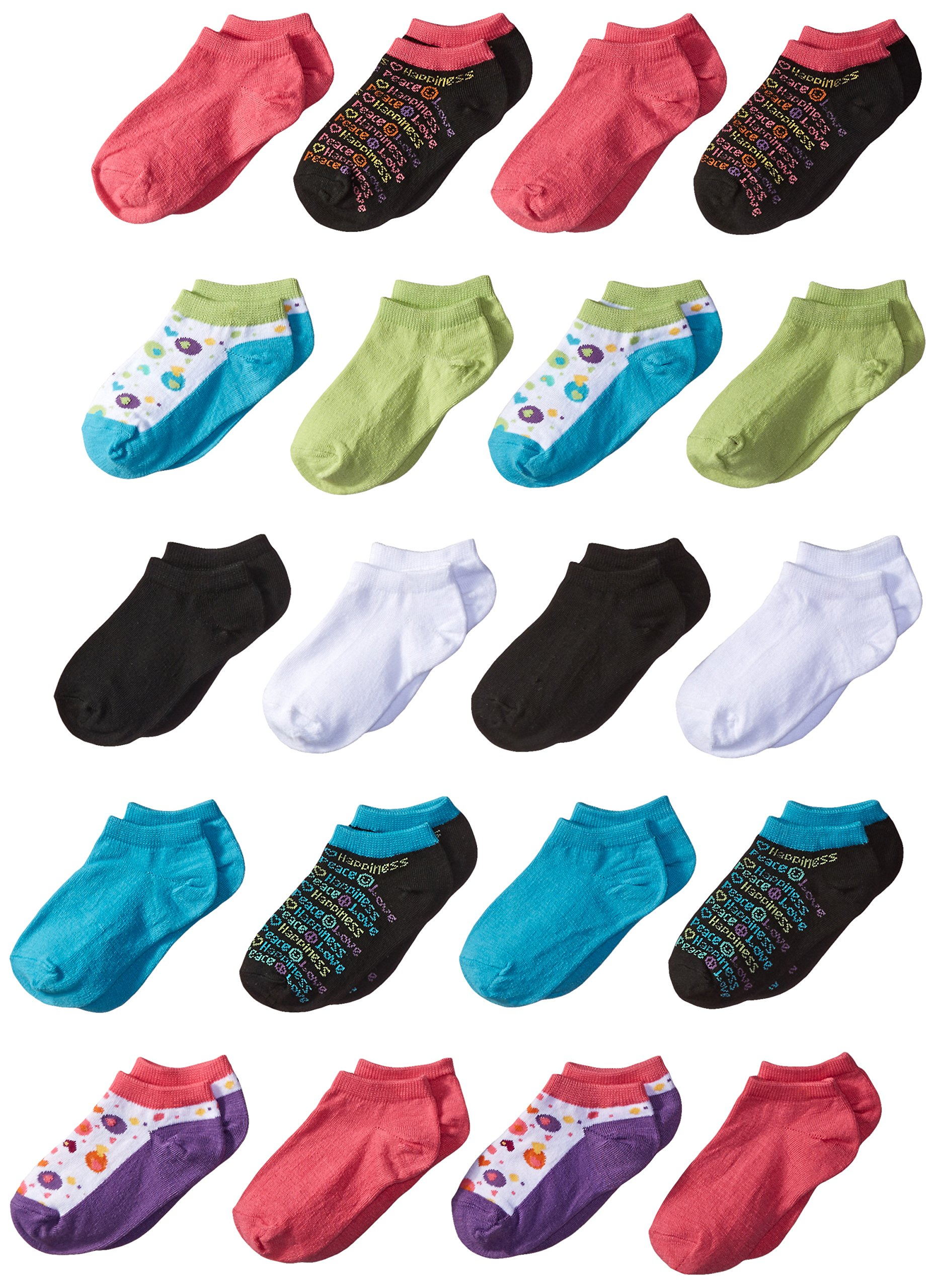 Fruit of the Loom Girl's 20 Pack Dotted Heart and Peace Love Happy Low Cut Socks, Fash, Shoe: 6-10.5