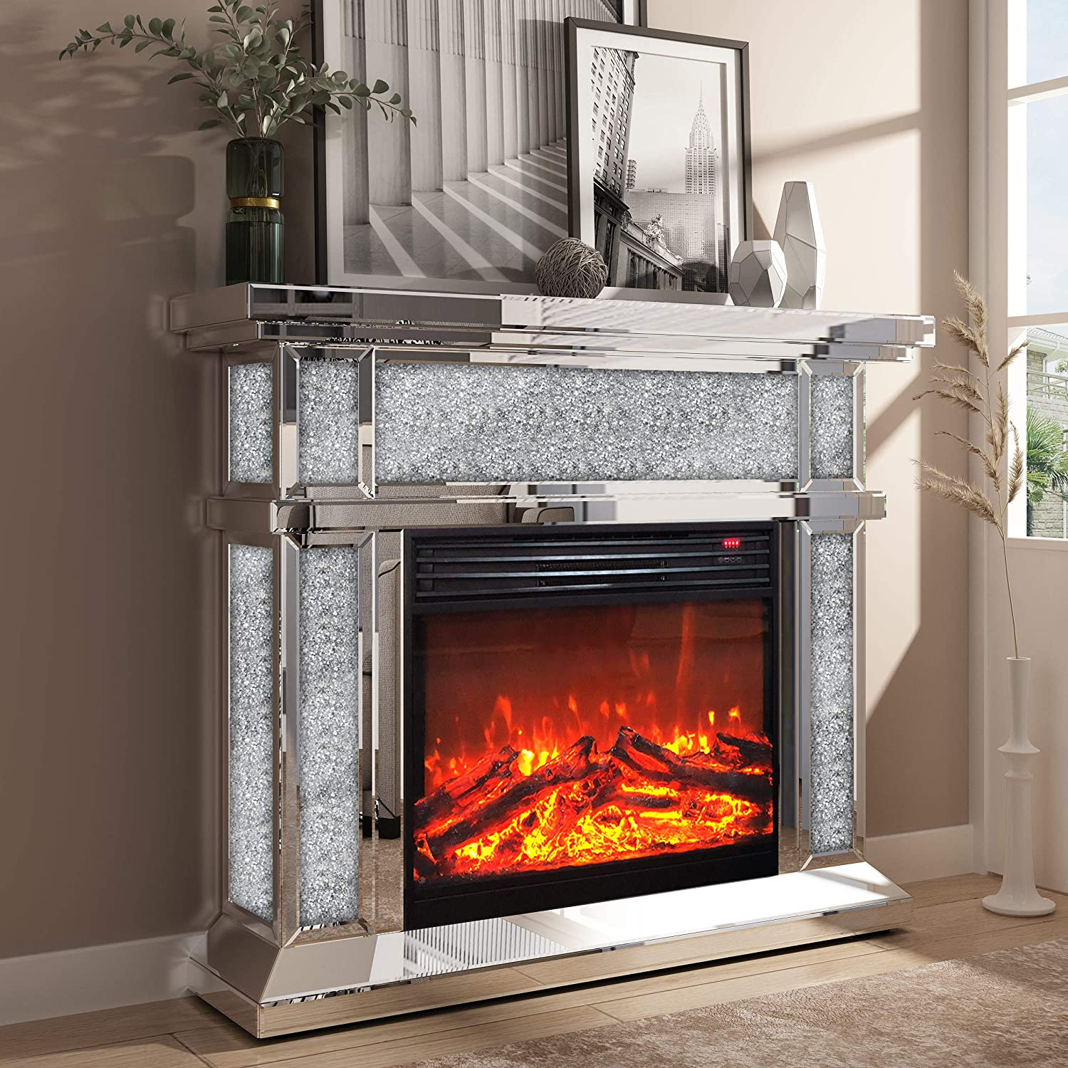 Enene Mirrored Electric Fireplace Fireplace Mantel Freestanding Heater Firebox With Remote Control 3d Flame 750 1500w Home Kitchen