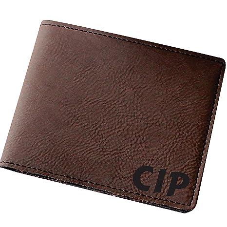 96b303548f53 Amazon.com  Customized Brown Leather Bi-Fold Men s Leather Wallet ...