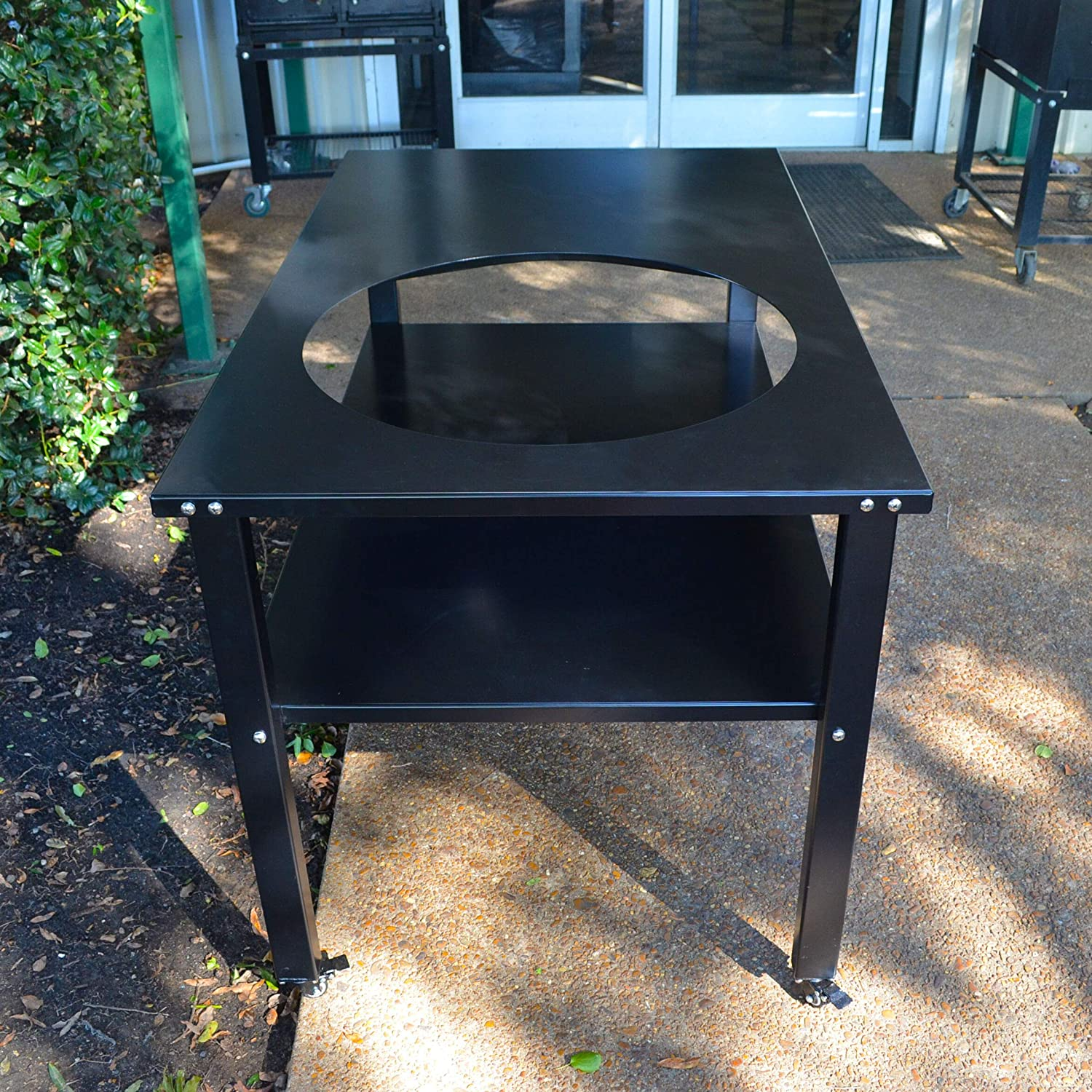 TITAN GREAT OUTDOORS Ceramic Grill Table Fits XL BGE Kamado Joe Aluminum Table Outdoor Prep Grill Cart Easy to Assemble