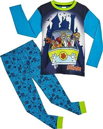 Scooby Doo Pijama Niño, Conjunto Pijamas Niños con Pantalón y Camiseta de Manga Larga, Ropa Niño de Dormir 100% Algodón, Regalos para Niños y Adolescentes Edad 3 a 12 Años
