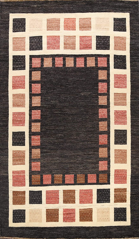 Amazon Com Geometric Charcoal Gabbeh Kashkoli Oriental Area Rug Hand Knotted Wool Carpet 7x9 6 6 X 9 5 Kitchen Dining