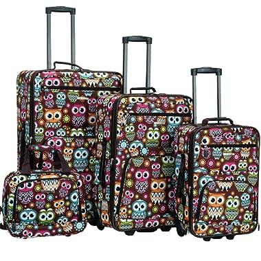 Rockland 4 Piece Luggage Set, Owl, One Size