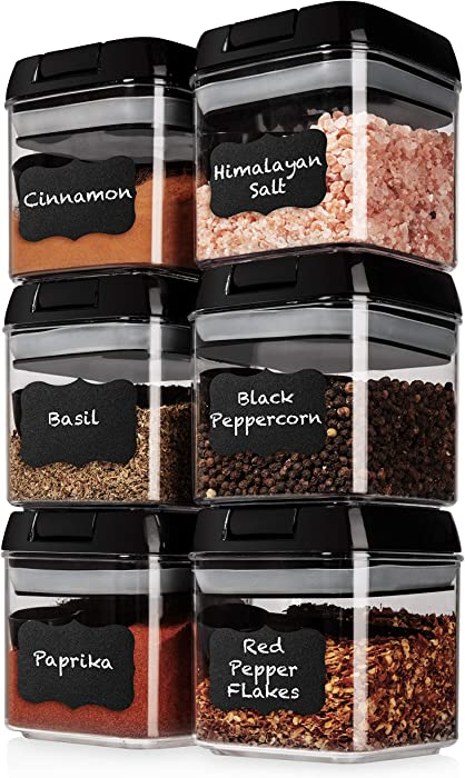 Shazo Airtight 6 Piece Mini Container Set + 6 Black Spoons, Labels & Marker - Durable Clear Plastic Food Storage Containers with Lids - Kitchen Cabinet Pantry Containers for Spices, Coffee, Tea etc