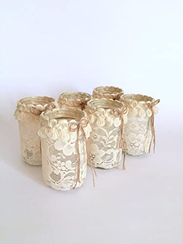 Astounding Amazon Com Set Of 6 Mason Jar With Candle Shabby Chic Interior Design Ideas Oxytryabchikinfo