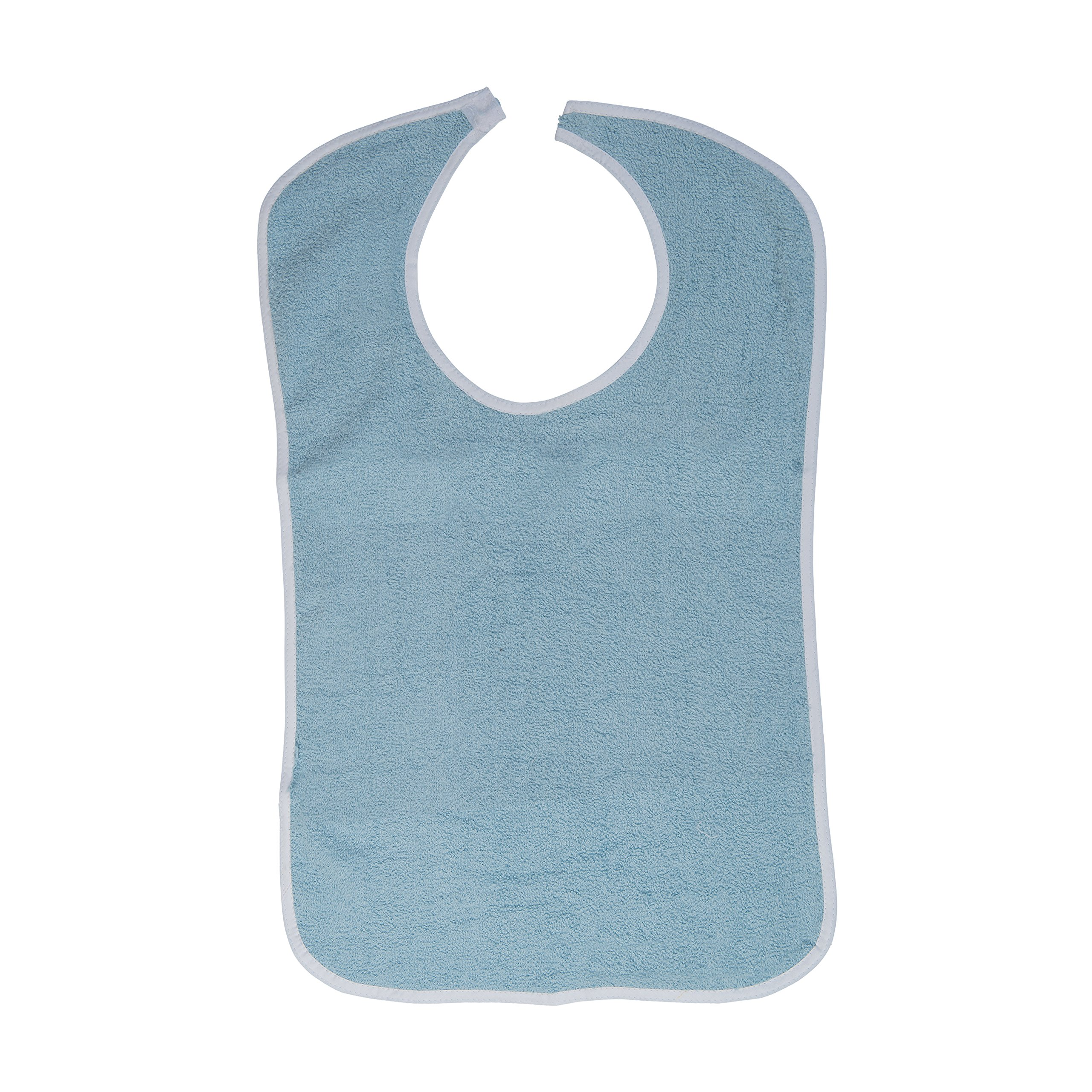 DMI Washable Reuseable Patient Clothing Protector Terry Cloth Adult Bib with Hook and Loop Closure for Men and Women, Blue
