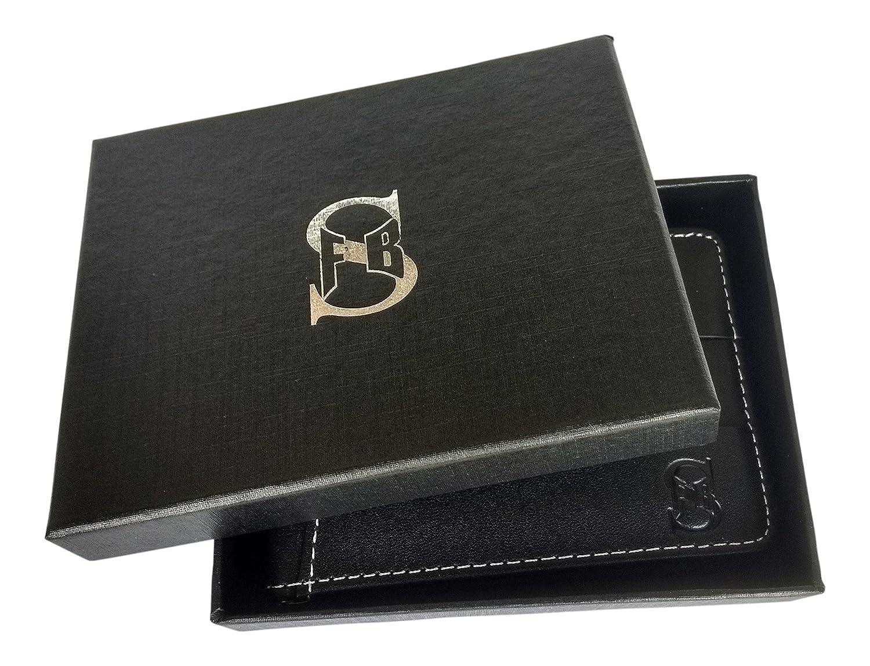 Slim Card Holder with Money Clip,R.F.I.D Blocking Genuine Leather Wallet