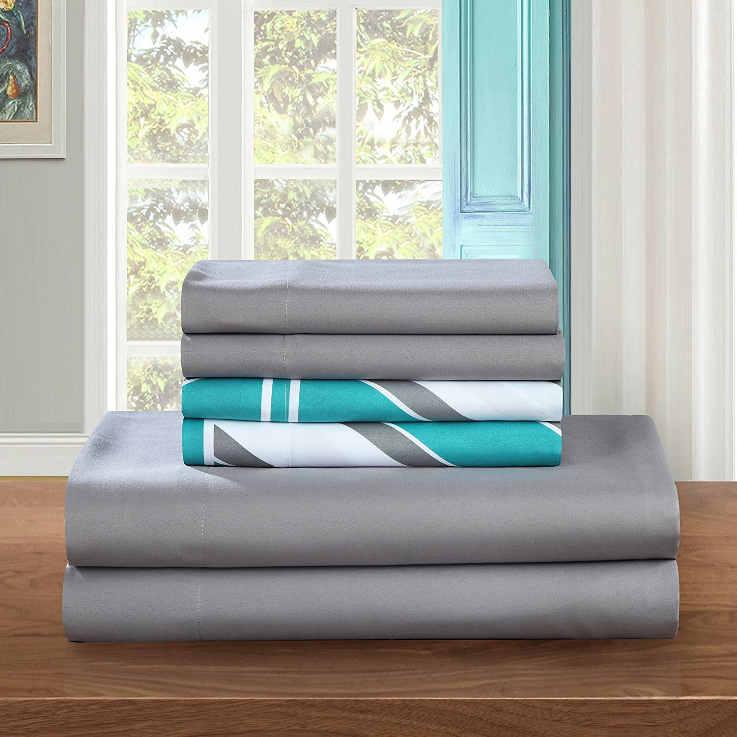 Grey King Chic Home SS5233-AN 6 Piece Solid Super Soft Brushed Microfiber Sheet Set with 2 Bonus Pillow Cases