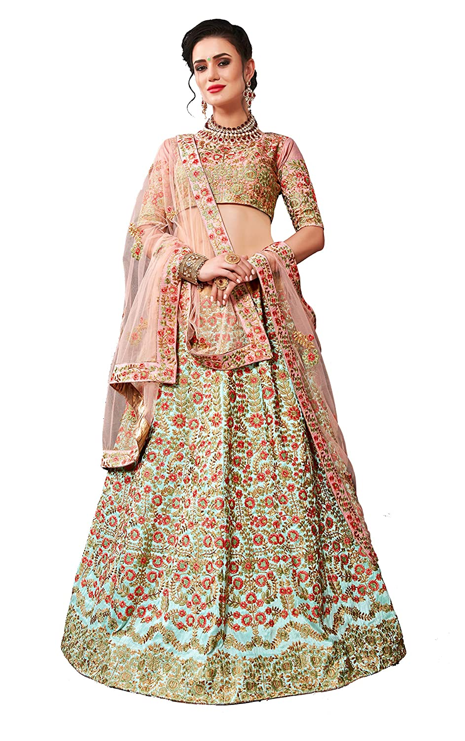 2e83390eb5 MEGHALYA Bridal Collection Phantom Silk Embroidered Phantom Silk Lehenga  choli for women(Breezy Blue, Free size): Amazon.in: Clothing & Accessories