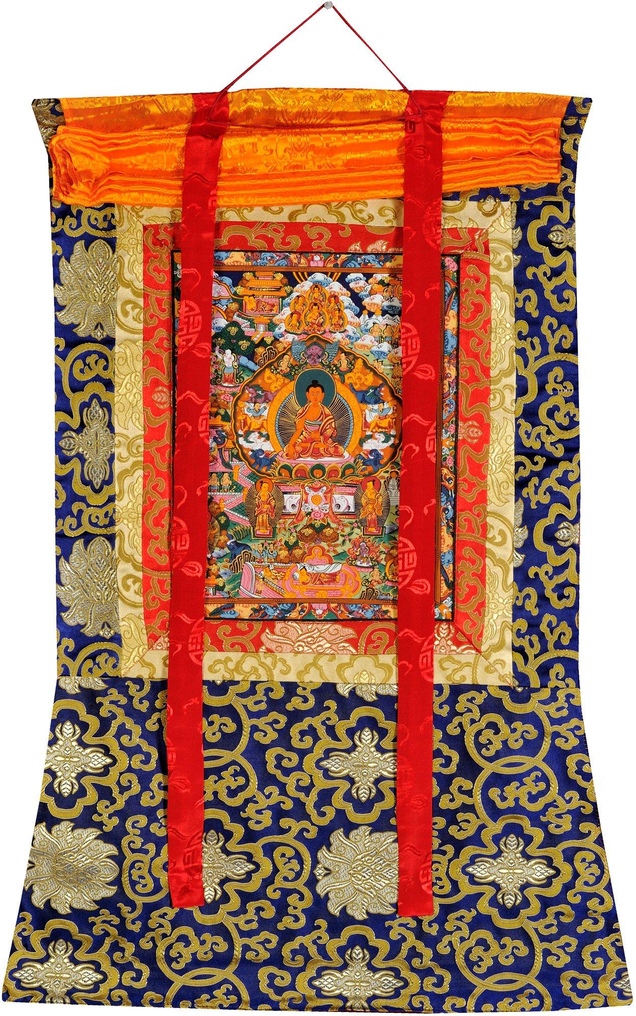 Gautam Buddha with Scenes from His Life (Tibetan Buddhist) - Tibetan Thangka Painting by Exotic India (Image #2)