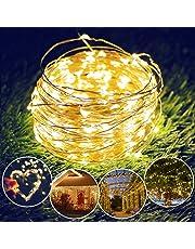 Catena Luci Giardino, isimsus 17M Luci Luminose Solare 150 LED Stringa in Rame Esterno Impermeabile illuminazione Fata esterno per Natale, Giardino, Portico, Albero, Matrimonio, Festa (Bianco Caldo)