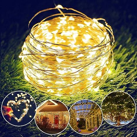 Cadena Solar de Luces, isimsus 17M Luces Solares 150 LED Exterior Alambre de Cobre Impermeable Luces Decorativas para Interior, Jardín, Patio, ...