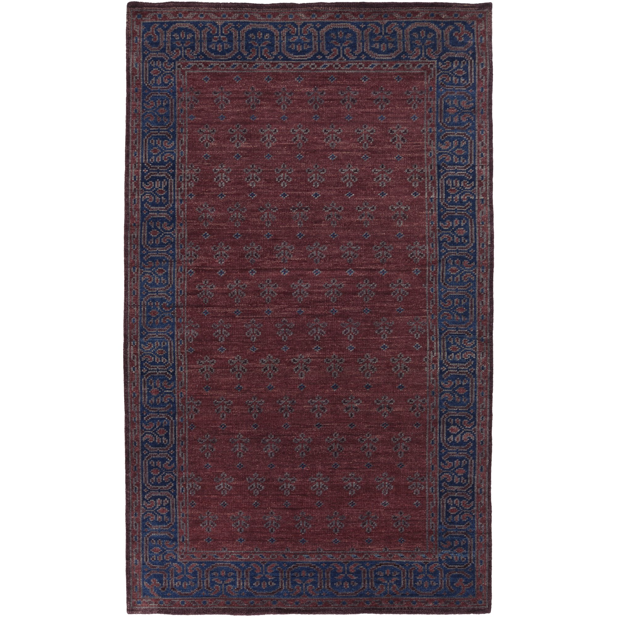 Surya HVN1225-23 Hand Knotted Casual Accent Rug, 2 by 3-Feet, Mauve/Eggplant/Cobalt