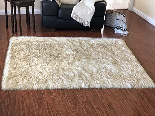 Lambzy Faux Sheepskin Classic Square Area Rug Plush Fur Premium Shag 5 x8 , White Brown