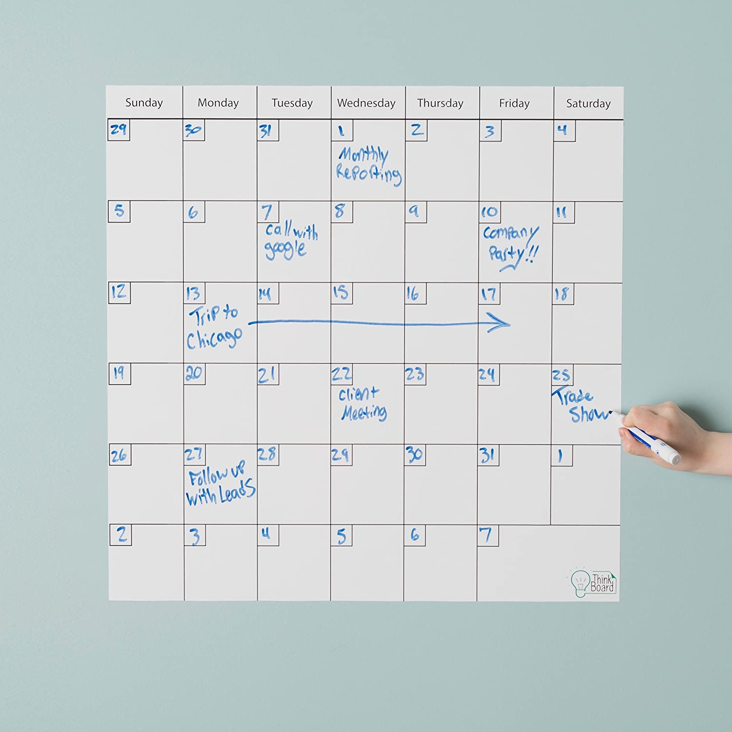 Think Board Self-Adhesive Whiteboard Wall and Refrigerator Calendar, Peel and Stick Dry Erase Board Wall Cling for Home and Office, Removable Wall Decals (Premium White, 24x24) 24x24)