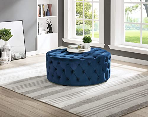 Best Master Furniture Sherlyn Tufted Velvet Round Ottoman/Footstool