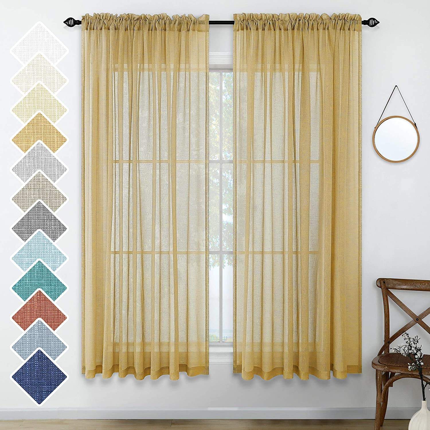 Gold Sheer Curtains for Kitchen 63 Inch Length Pair Set Rod Pocket Light Filtering Semi Transparent Window Drapes Gold Yellow Curtains for Bedroom Living Room Home Office Farmhouse Rustic 52x63 Long