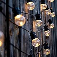 Lumisky Lichtsnoer voor in de tuin, op zonne-energie, 10 ronde bollen, transparant, LED, 570 cm, zwart, 270 cm + 300 cm…