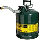 "Justrite 7250430 AccuFlow 5 Gallon, 11.75"" OD x 17.50"" H Galvanized Steel Type II Green Safety Can With 1"" Flexible Spout"