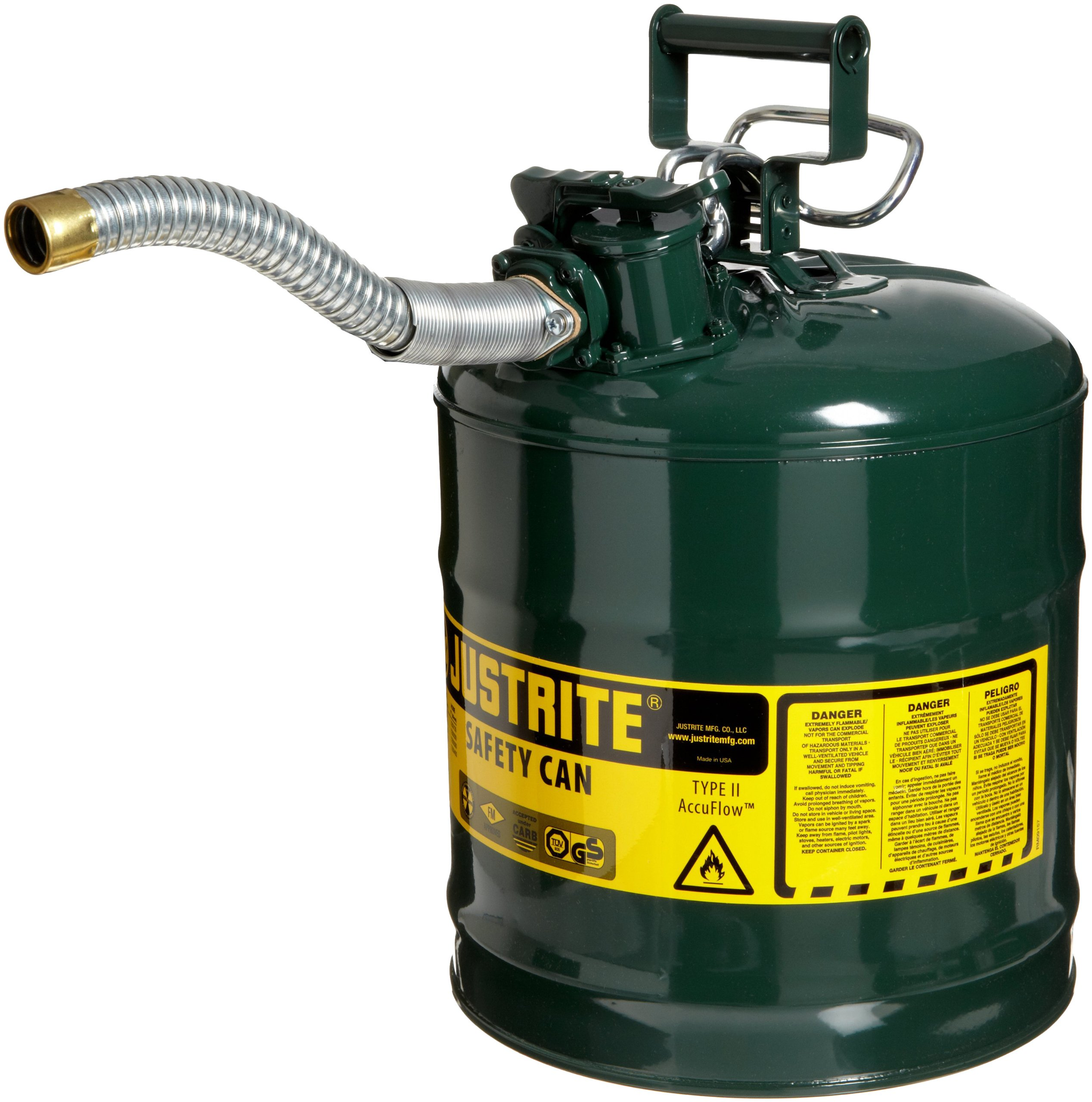 Justrite 7250430 AccuFlow 5 Gallon, 11.75'' OD x 17.50'' H Galvanized Steel Type II Green Safety Can With 1'' Flexible Spout
