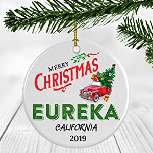"Tis The Season Christmas Tree Ornament - Christmas Ornament 2019 Eureka California State - Home Gift Housewarming Gift Home Ornament Owner Gift Christmas Ornament 3"" Decoration"
