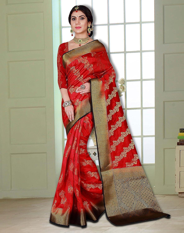 6b4b406e9b Amazon.com: Viva N Diva Women's Red Color Banarasi Art Silk Saree with Unstitched  Blouse Piece.: Clothing