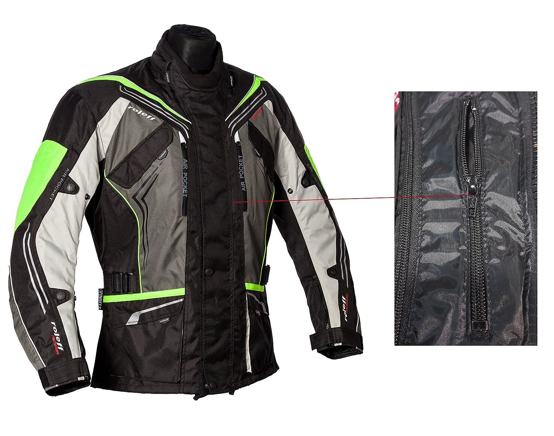 Klimamembrane und herausnehmbarem Thermofutter Roleff Schwarz-graue Motorradjacke mit neon-gelben Elementen Protektoren Bel/üftungssystem