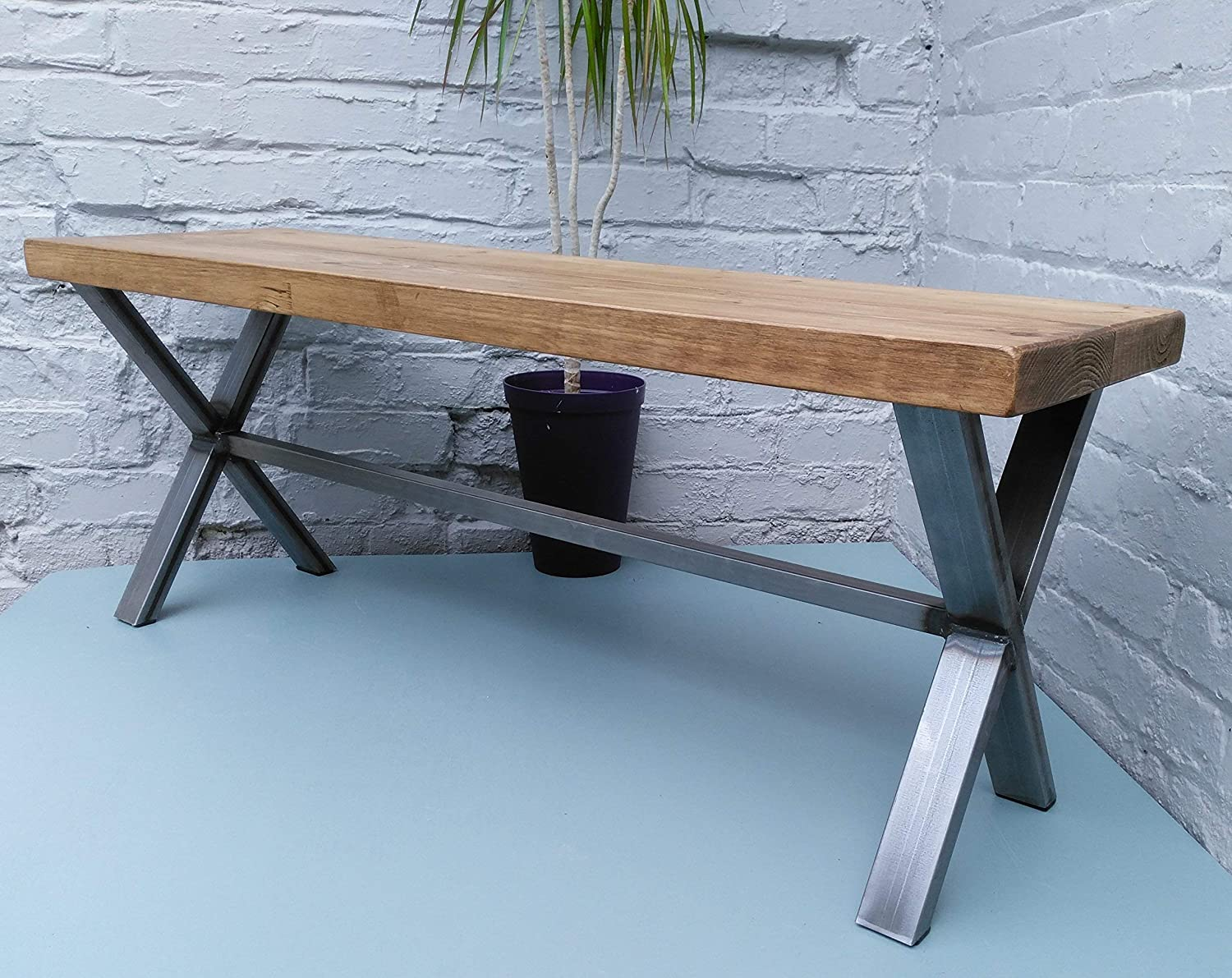235: Kitchen Bench deeper rustic seat with metal X frame base hallway bench seat 140 cm