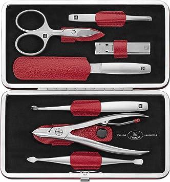 Zwilling TWINOX - Estuche de manicura 7 piezas, color rojo: Amazon.es: Belleza