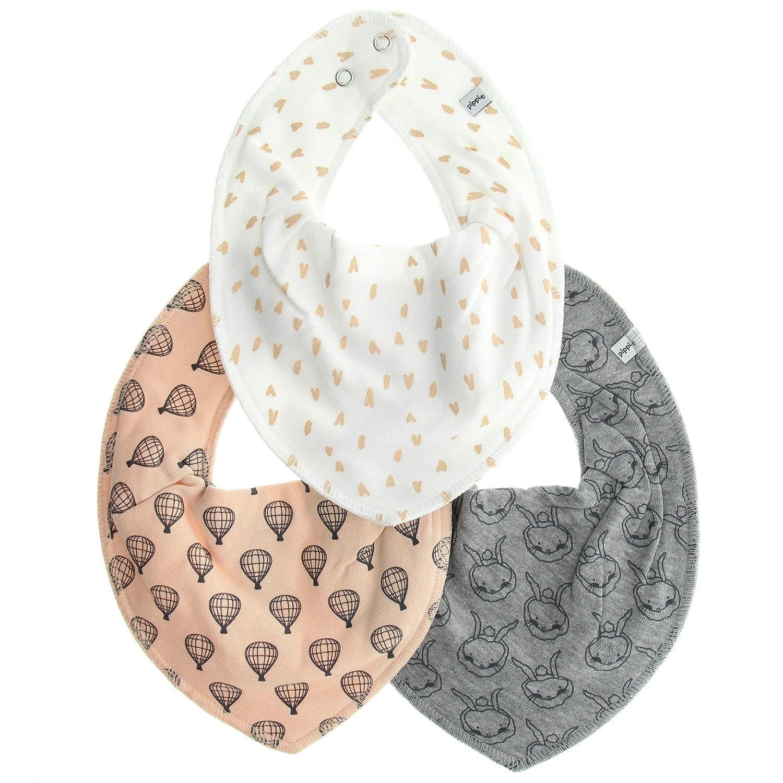 Pippi 3er Pack Baby Unisex Halstuch mit Aufdruck, One Size, 4452 Farbe: Rosa Weiß und Grau 4266-195