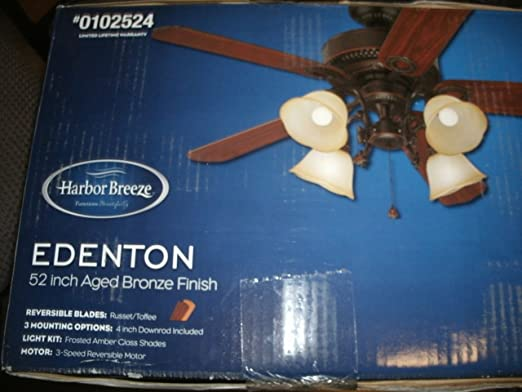 Harbor breeze 52 in edenton aged bronze ceiling fan with light kit harbor breeze 52 in edenton aged bronze ceiling fan with light kit item102524 model l2b1 upc 803390601433 amazon aloadofball Choice Image