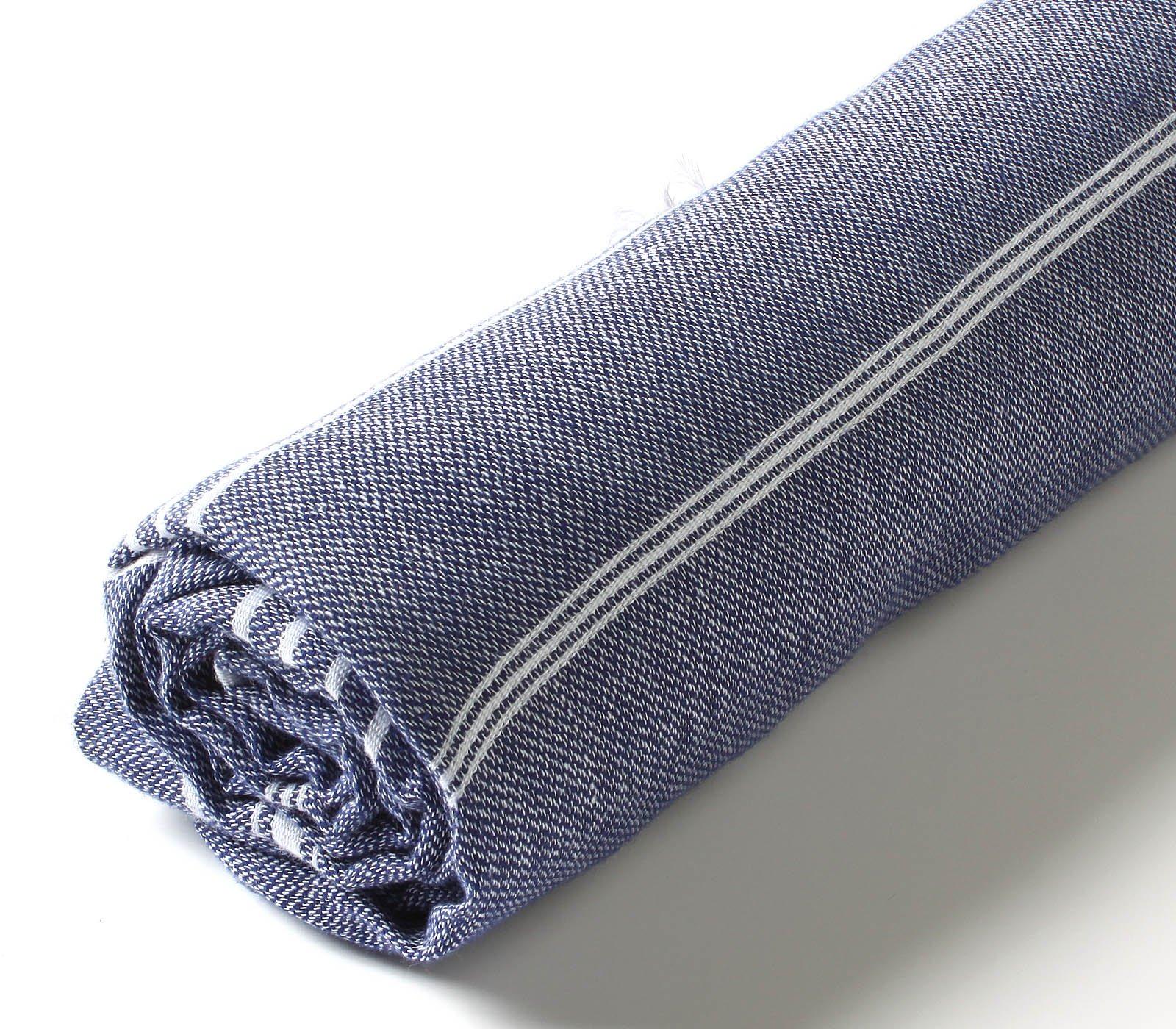 Cacala 100% Cotton Pestemal Turkish Bath Towel, 37 x 70, Dark Blue by Cacala (Image #3)