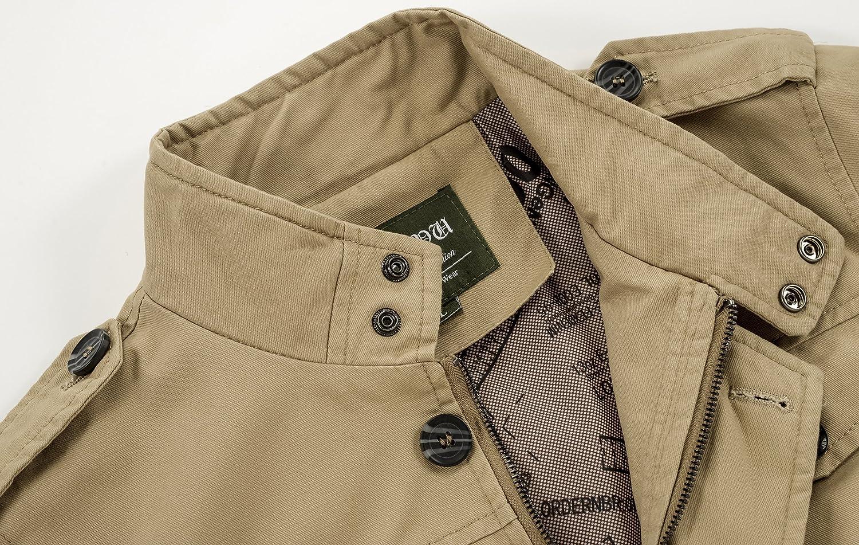 25e24dae8 Mochoose Homme Trench Coton Multi-Poche Veste Classique Col Montant ...