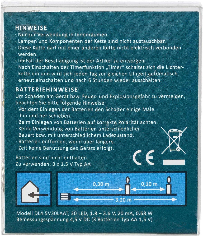Batterie betrieben mit 6 Stunden Timer Funktion Deko Idena 31824 LED Micro Lichterkette mit 30 LED in warm wei/ß Hochzeit 3,2 m f/ür Partys Weihnachten als Stimmungslicht ca