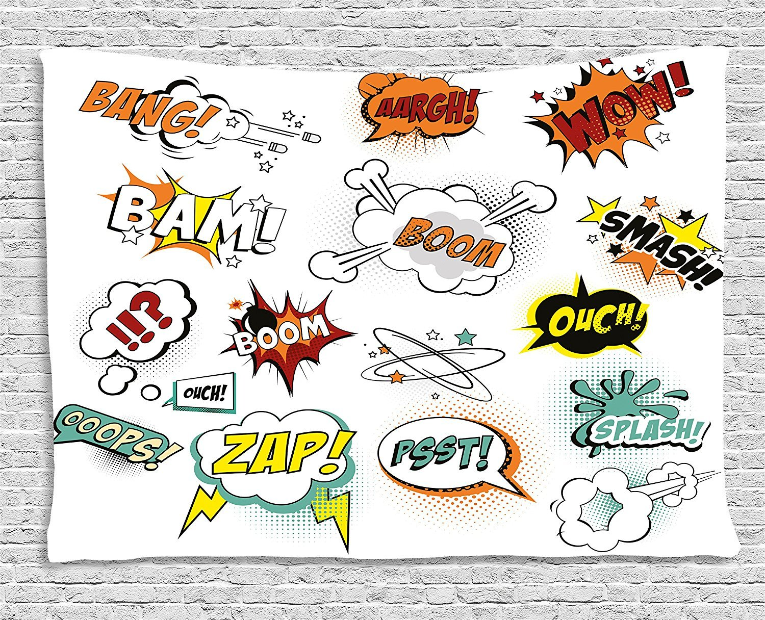 asddcdfdd Superhero Tapestry, Retro Fiction Speech Bubbles Famous Strip Gestures Narrative Webcomics Drawing, Wall Hanging for Bedroom Living Room Dorm, 80 W X 60 L Inches, Multicolor