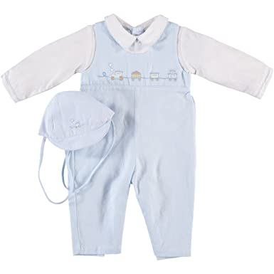 168d5e8e0 Amazon.com: Baby Boy's Blue Train Longall and Hat (6M): Clothing
