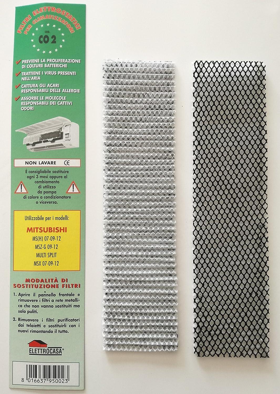 CO2Lot de 2filtres électrostatiques pour climatisation Mitsubishi MS (H) 070912MSZ-G 09-12Multi Split MSX 07-09-12 Elettrocasa