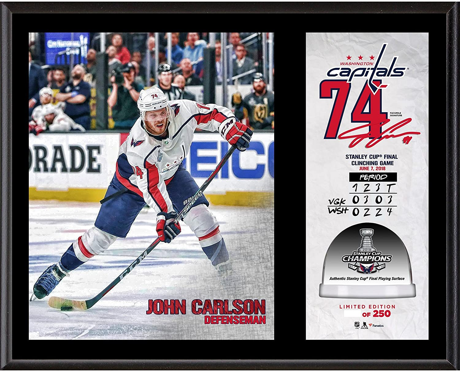 John Carlson Washington Capitals 2018 Stanley Cup Champions 12   x 15    Sublimated Plaque with Game-Used Ice from the 2018 Stanley Cup Final -  Limited ... 56da88328c5