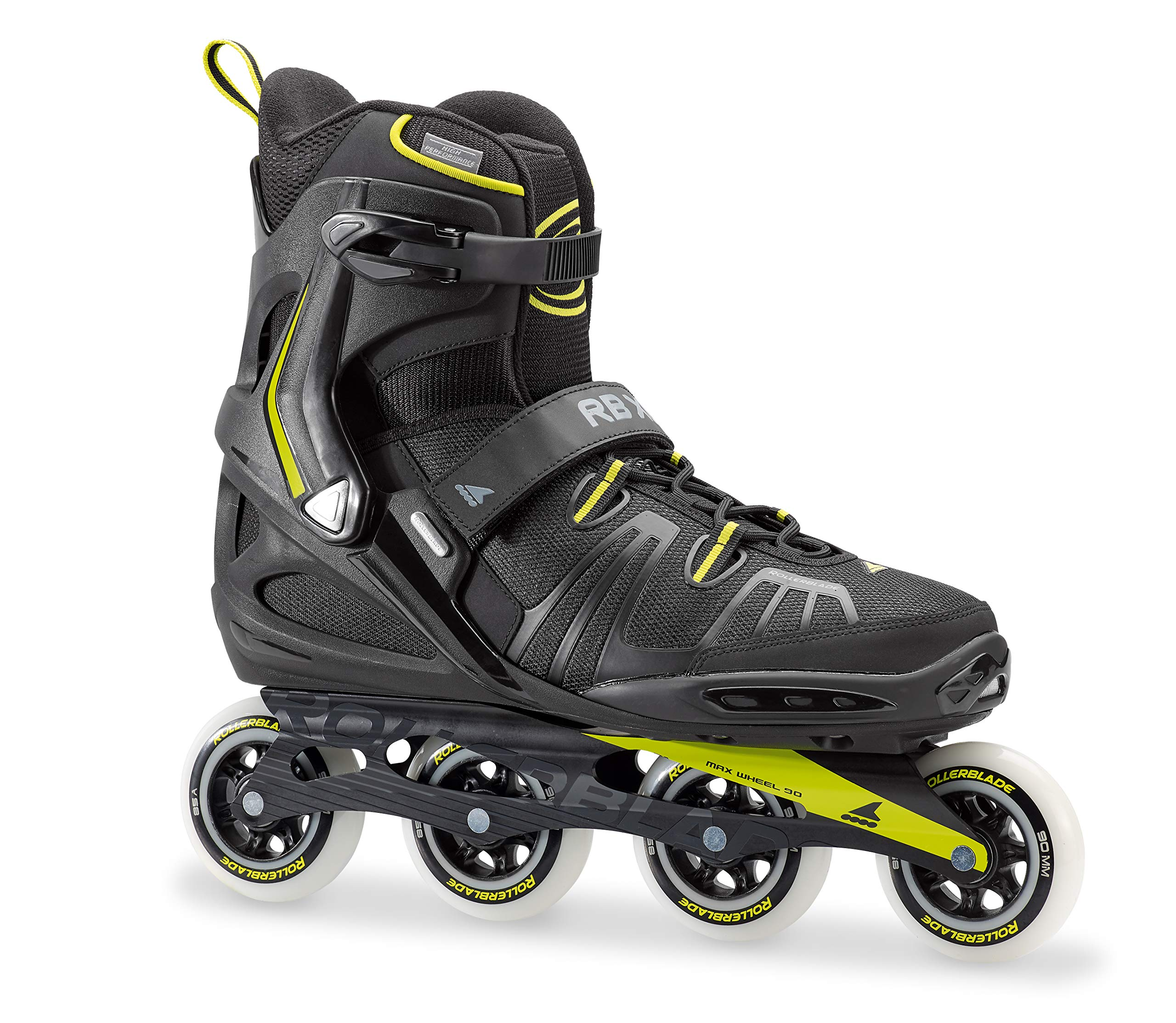 Rollerblade RB XL Men's Adult Fitness Inline Skate, Black and Lime, High Performance Inline Skates