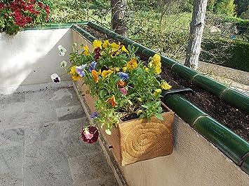 Jardinera Orinoco: Jardinera rústica imitación madera para colgar en balcón (soporte grande): Amazon.es: Jardín