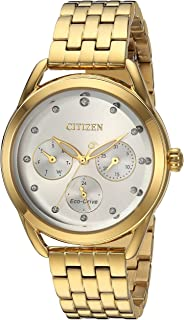 Citizen Womens Drive Quartz Stainless Steel Casual Watch, Color:Gold-Toned